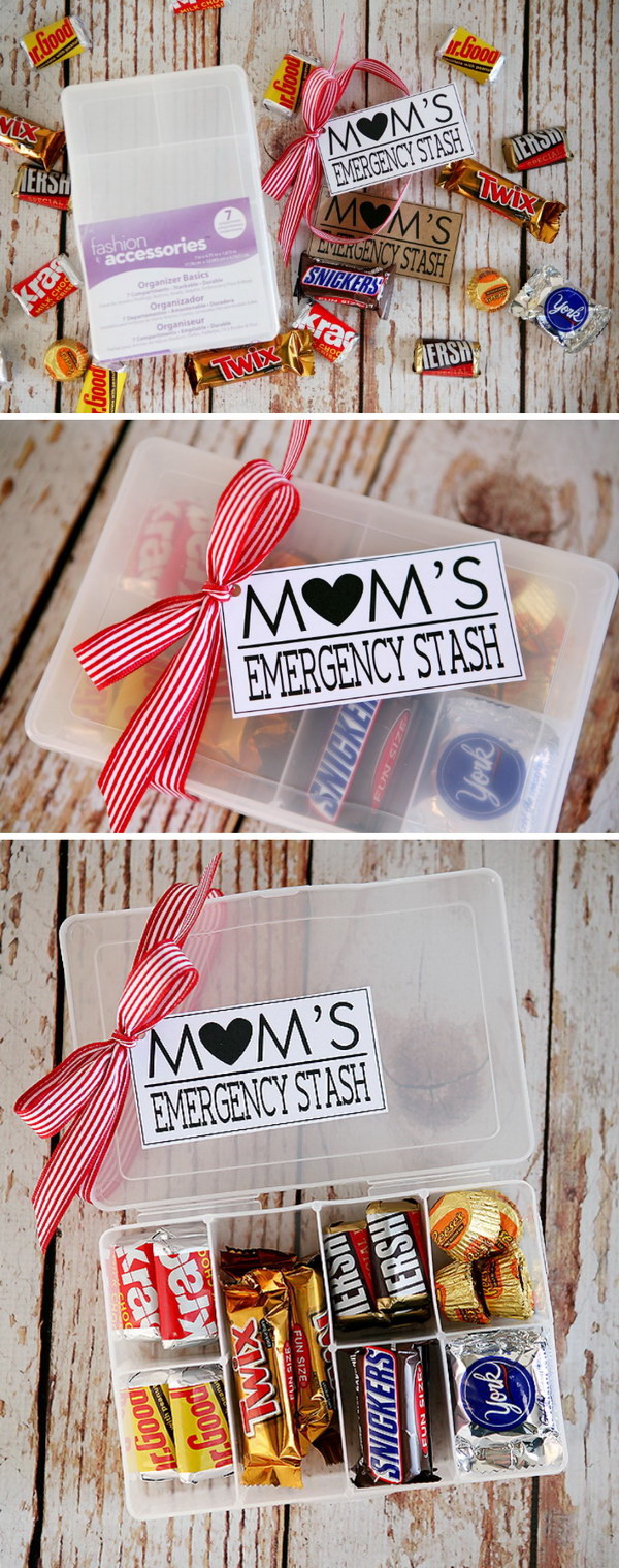 Mom's Emergency Stash. Simply fill a container with special treats that your mom likes. This is the simpliest and thoughtful gift for moms who seem to have everything.