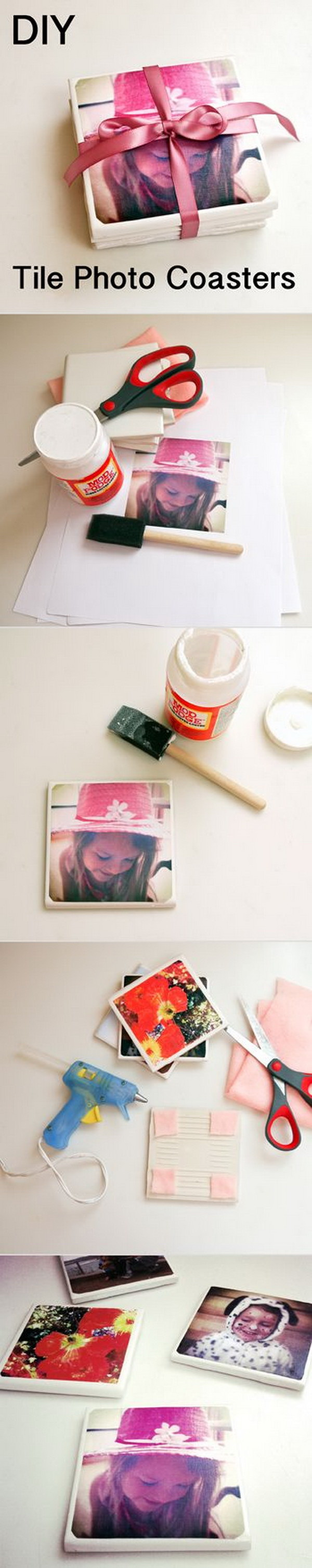 DIY Tile Photo Coasters. Photo gifts always make great gift idea, especially for mom, grandmo or  all the special mothers in your life.