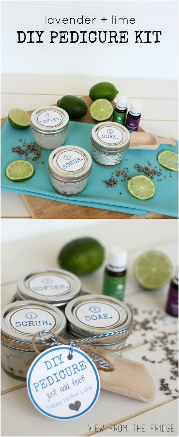 Homemade Pedicure Kit. A cute, thoughtful, and inexpensive gift for your Mom with this homade pedicure kit!