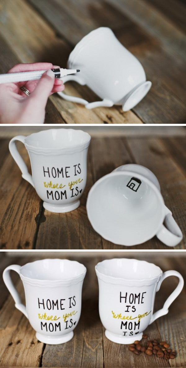 DIY Mother's Day Mugs. A personalized and fun little mug for our mothers. It was crazy easy and definitely worth the time to make!