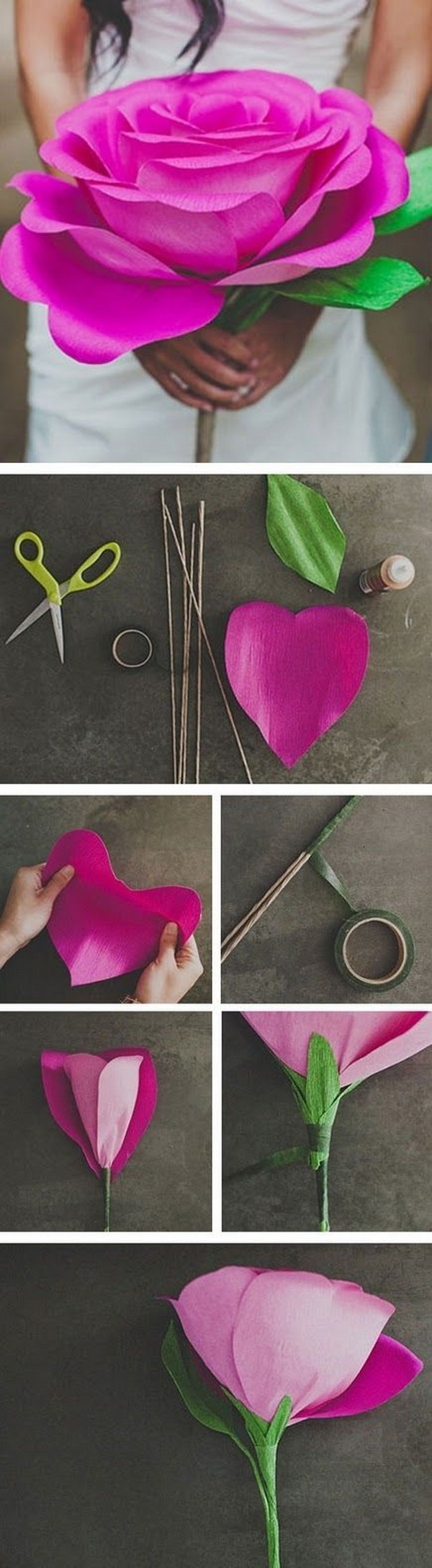 DIY Giant Paper Rose Flower. Every mom would love this beautiful gift!
