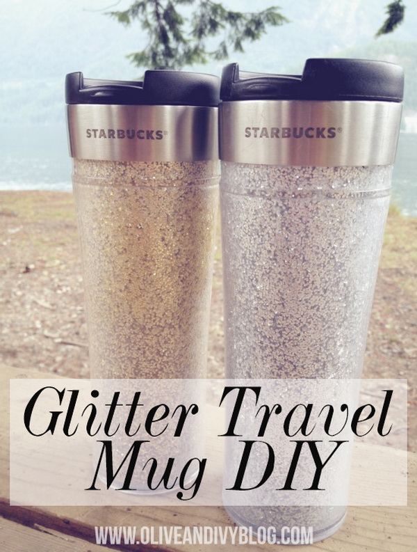 DIY Glitter Travel Mug. This DIY glitter travel mug is super easy and makes the coolest mug that you will be so proud to show off!