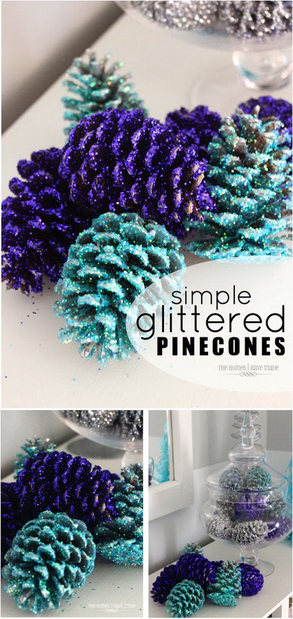 DIY Glittered Pinecones. Add major color, sparkle, and glam to your holiday display with these easy DIY glittered pinecones!