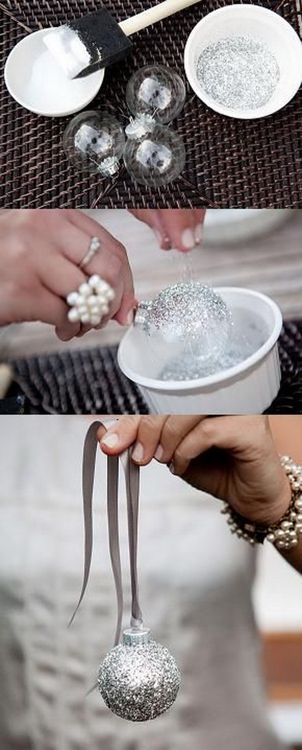 DIY Silver Glitter Ornaments.