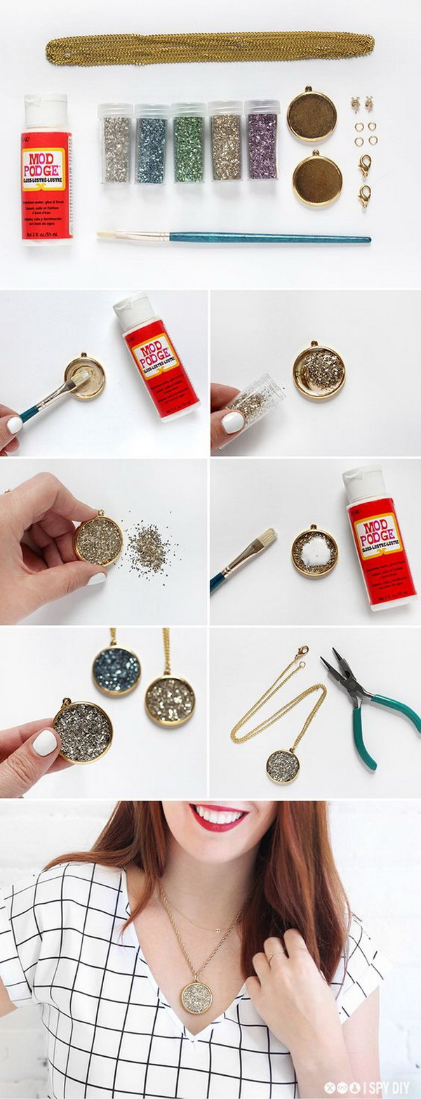 DIY Kit Faux Druzy Necklace. Make an adorable necklace with this fun DIY tutorial! Not only is it quick to make but super easy as well!