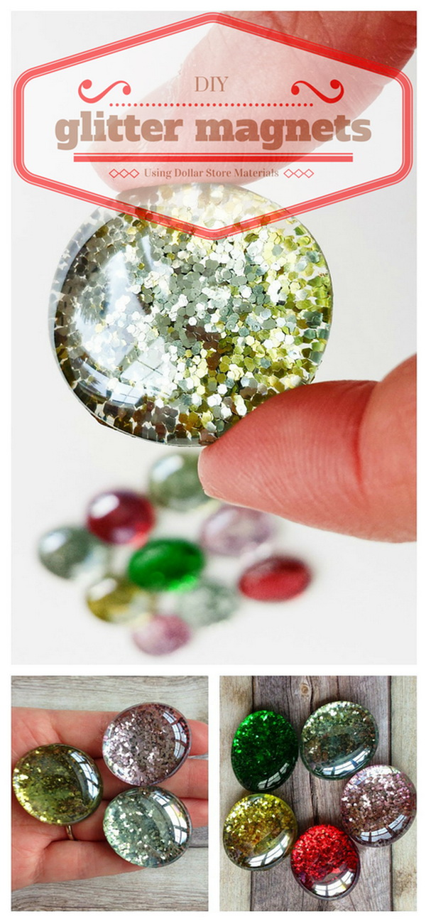 DIY Glitter Magnets. These glitter magnets that are surprisingly easy and fun to make even for kids. They make great given gift for anyone you love!