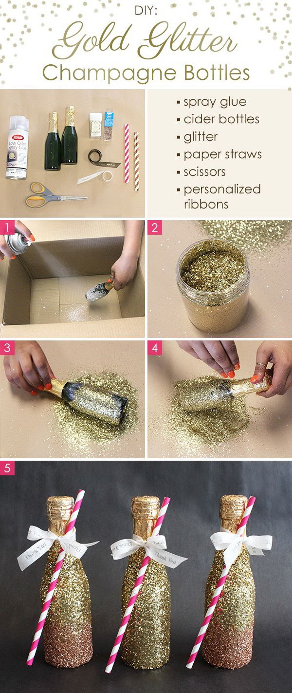 DIY Gold Glitter Champagne Bottles. These DIY gold glitter champagne bottles are super simple yet super decadent and gorgeous looking. They are a great addition to your wedding decoration, New Year's Eve or other occasion.