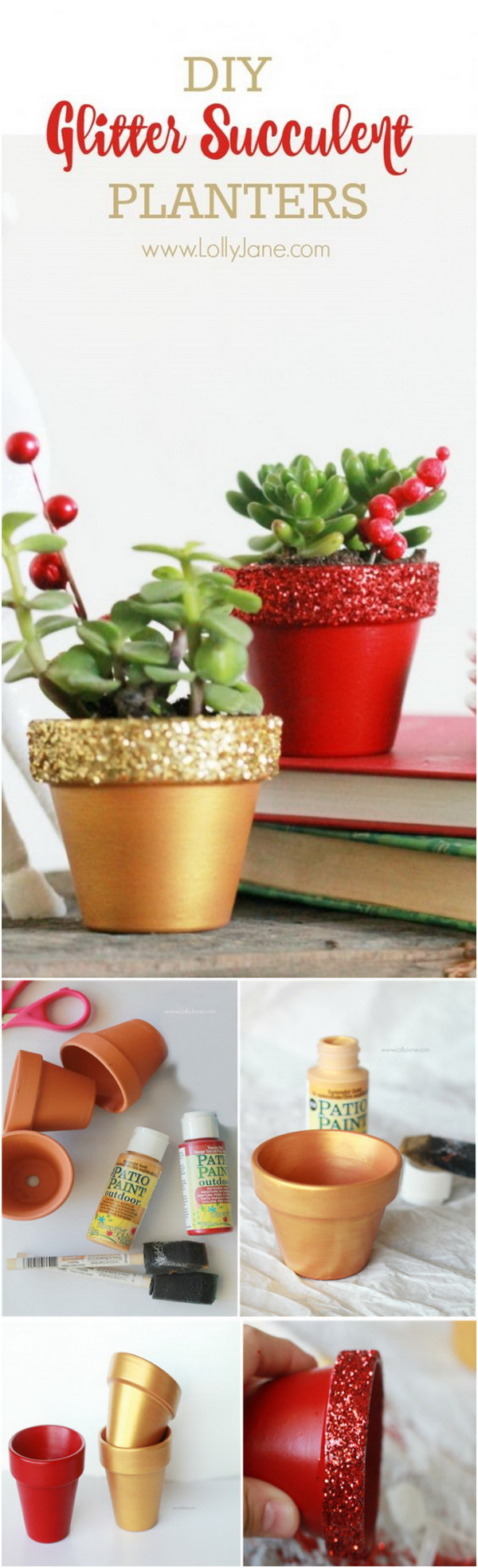 DIY Glitter Succulent Planters. These glitter succulent planters are easy and fun to make even for your kids. They make a great gift for Christmas or other holiday!