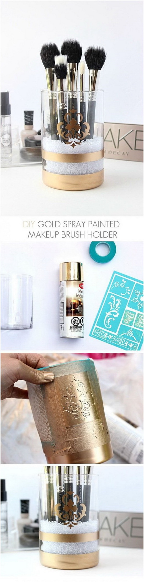 DIY Gold Spray Painted Makeup Brush Holder. With just a few steps, you can create a glam holder to organize your makeup brushes in a beautiful way. It's the perfect addition to your vanity or as a gift to teengirls.