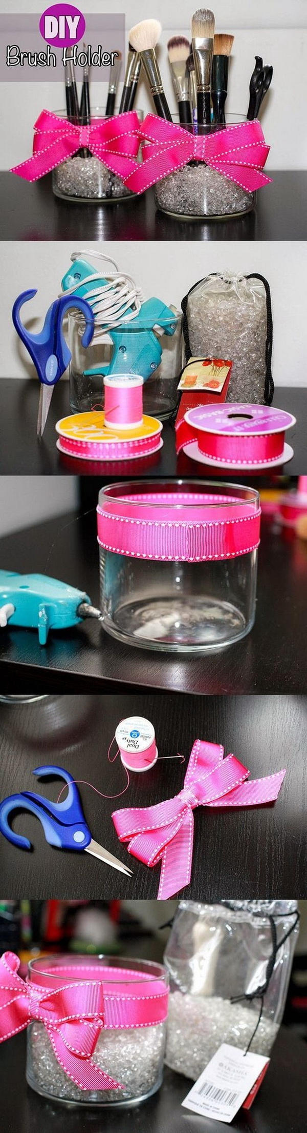 DIY Makeup Brush Organizers. Another version of cute DIY makeup brush organizer for your inspiration.  All you need some empty glass jars, cute fillers and ribbon.