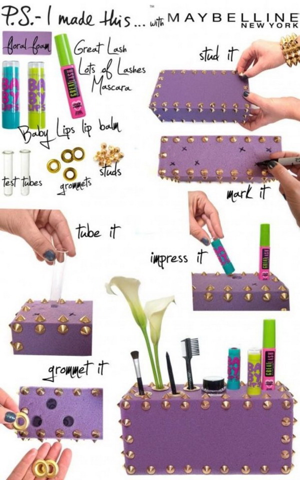 DIY Funky Makeup Box. This makeup box looks so amazing and eye-catching and is perfect for all your daily makeup needs when placed next to your mirror. All you need to make it are just some colorful foam, studs and a pinch of creativity.
