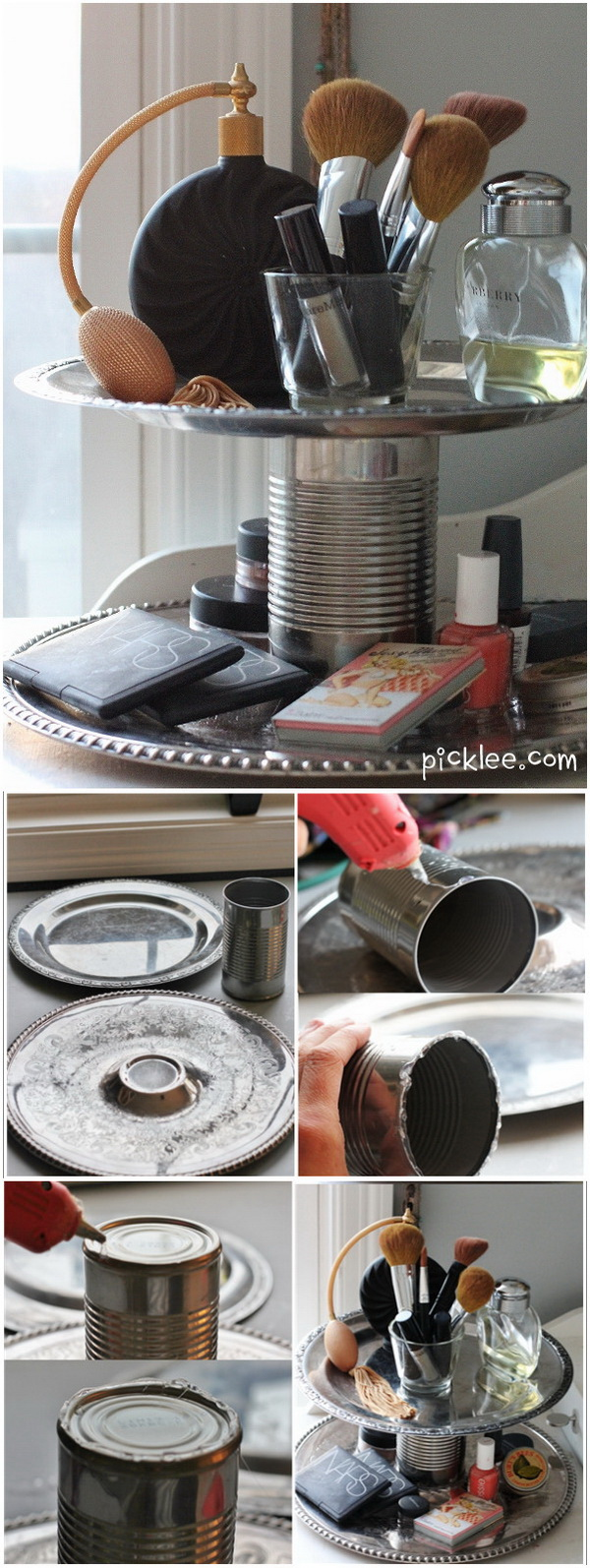 DIY Ethnic Two-Tier Organizer. With two discarded plates a tin can and some hot glue gun, you'll have this elegant two tier makeup organizer up in no time. You will be amazed by how easy it is to make and how elelgant it turns out.
