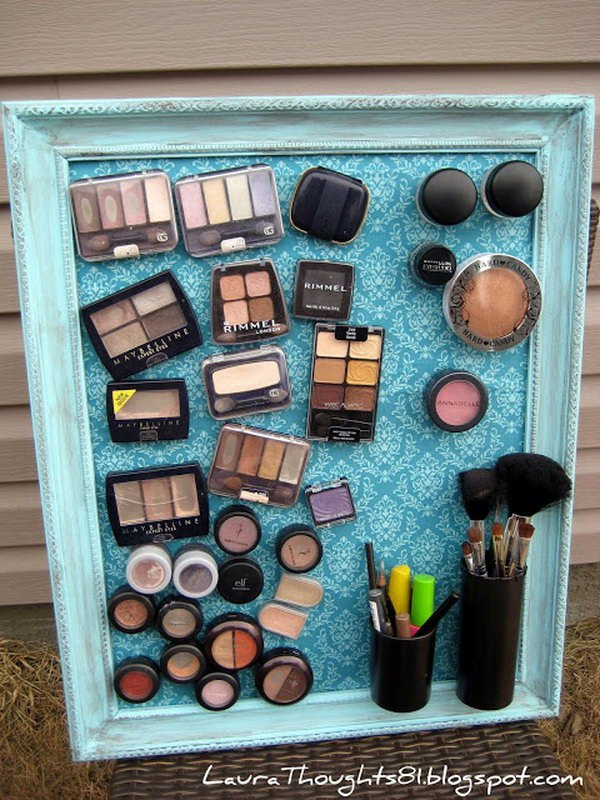 DIY Make-up Magnet Board. Stick magnets at the back of all your cosmetics and frame them together with a nice frame metal plate, all of your makeup will be well-organized with more elegance.
