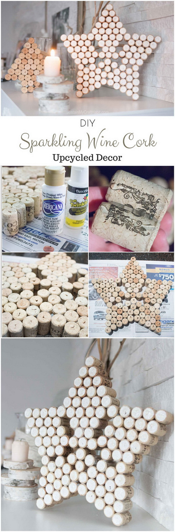 Sparkling Wine Cork Star Decor. Never throw away those leftover wine corks and you can collect them and turn them into a sparkling and beautiful decorative star for your winter or Christmas mantle decorations!