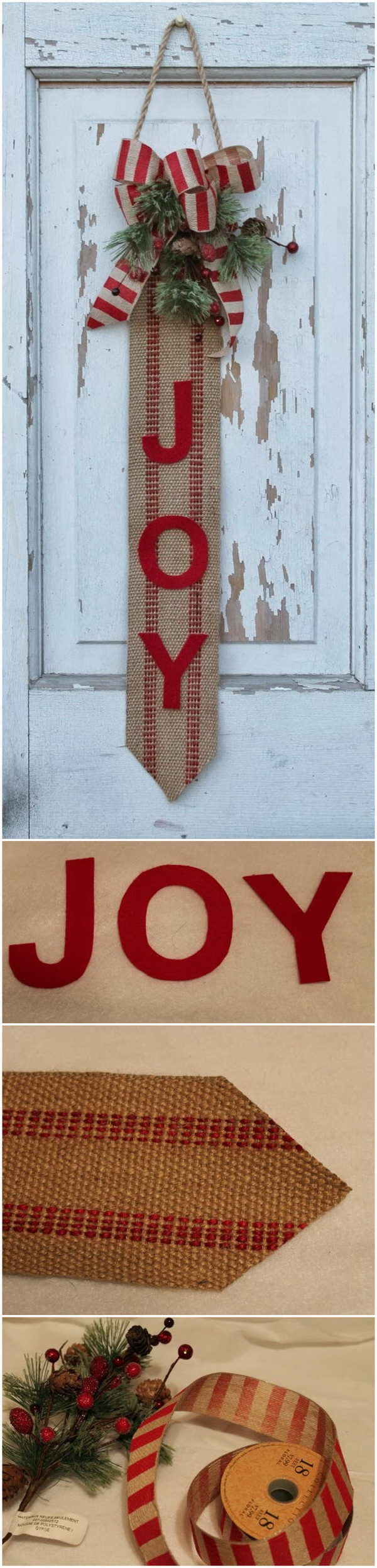 JOY Christmas Door Hanger.