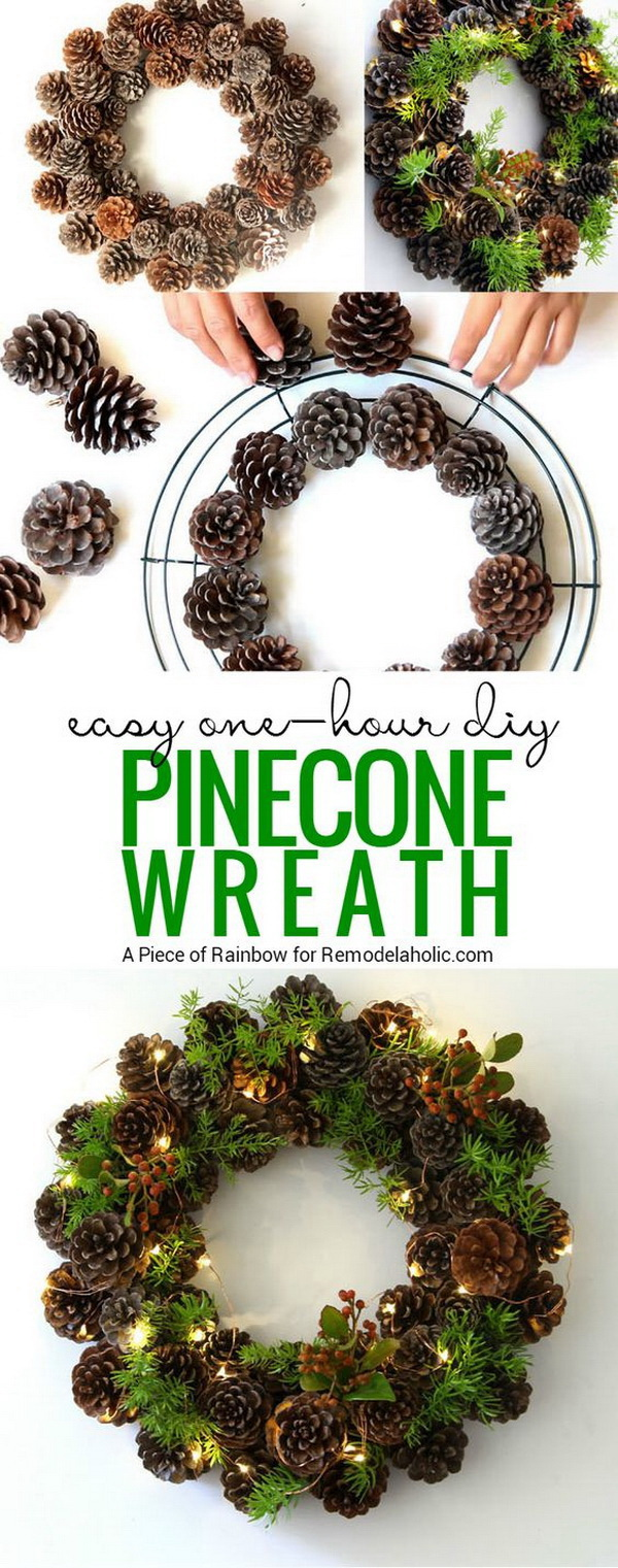 DIY Lighting Pinecone Wreath. This DIY festive wreath is made from pinecones, greenery and some fairy lights.
