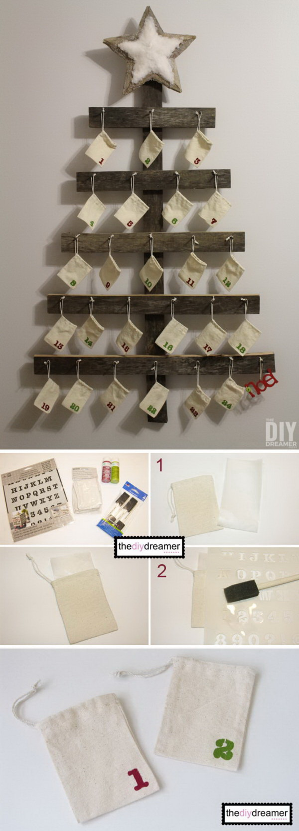 Wall Mounted Advent Calendar. It is fun and simple to build this wall mounted advent calendar for your family. It is perfect for the rustic Christmas decoration!