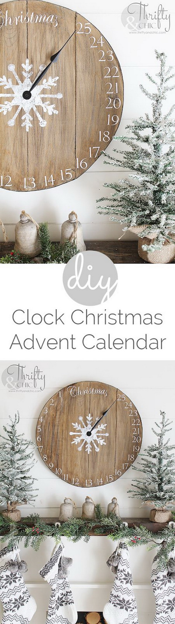 DIY Wood Clock Christmas Advent Calendar. Another easy and simple project for your rustic farmhouse decoration this Christmas!