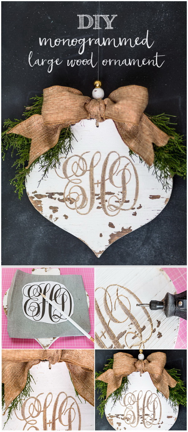 Distressed & Carved Wood Monogrammed Ornament. This delicate and elegant personalized monogram ornament looks great on your tree and can also be the great holiday gift idea.