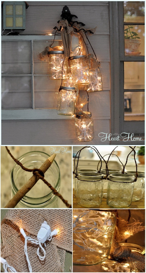 DIY Mason Jar Luminaria. Add more rustic charm and warm to your holiday decor with these stunning mason jar luminaria!