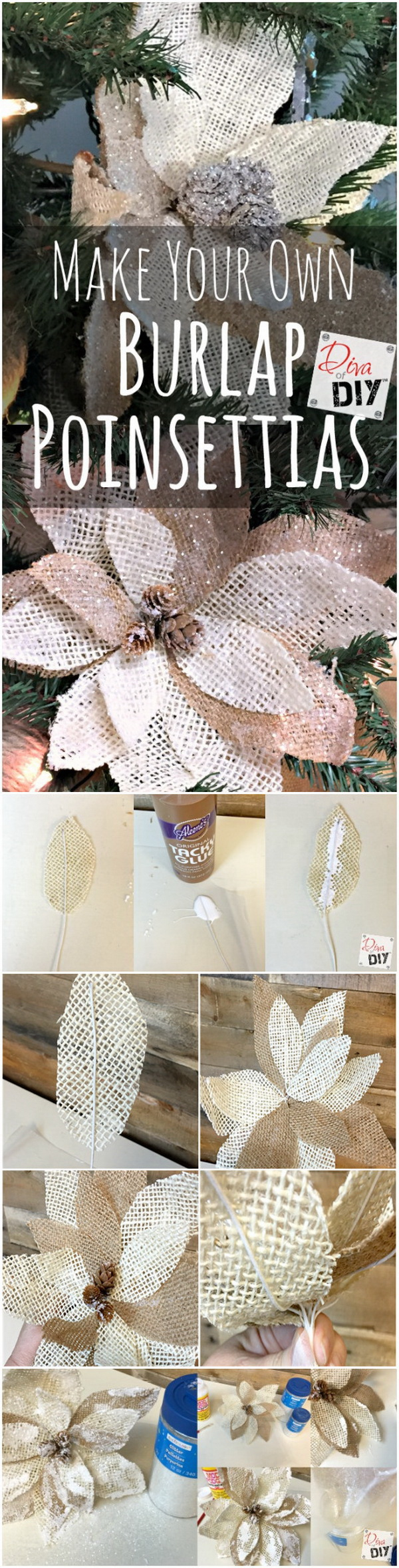 Burlap Poinsettias for Christmas Decor.