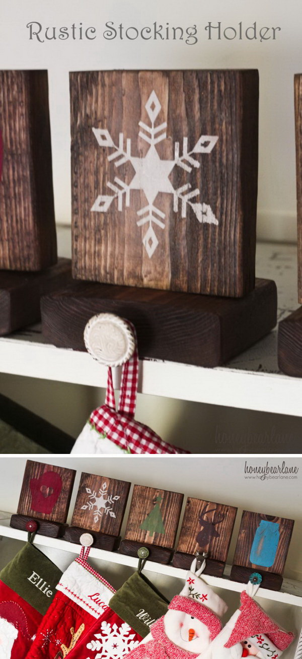 Rustic Stocking Holders. Make your own rustic and charming holders to hang your Christmas stockings!