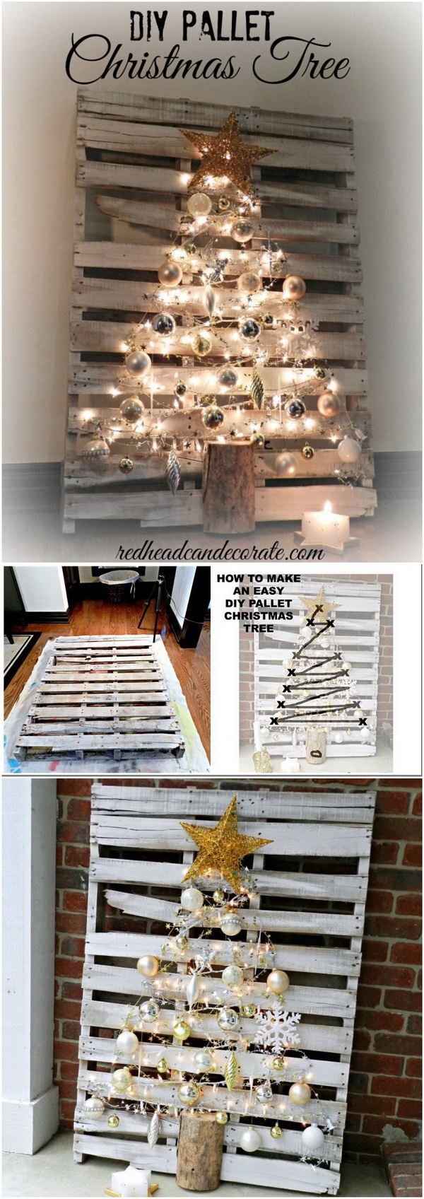 Pallet Lighting Christmas Tree. Make a Christmas tree from reclaimed pallets and decorate with Christmas ornaments and fairy lights. It gives a touch of warmth to your Christmas decoration.