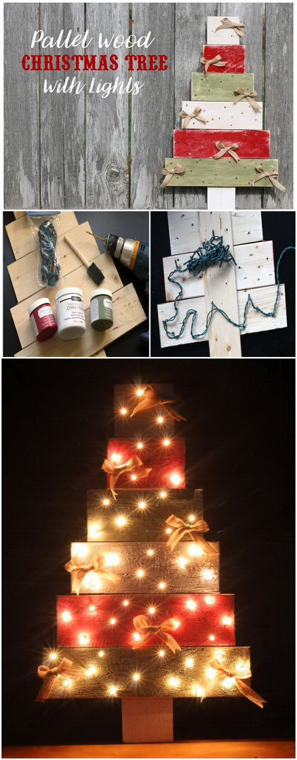 DIY Light Up Pallet Wood Christmas Tree. Another version of DIY Christmas tree make out of pallet wood with lighting!