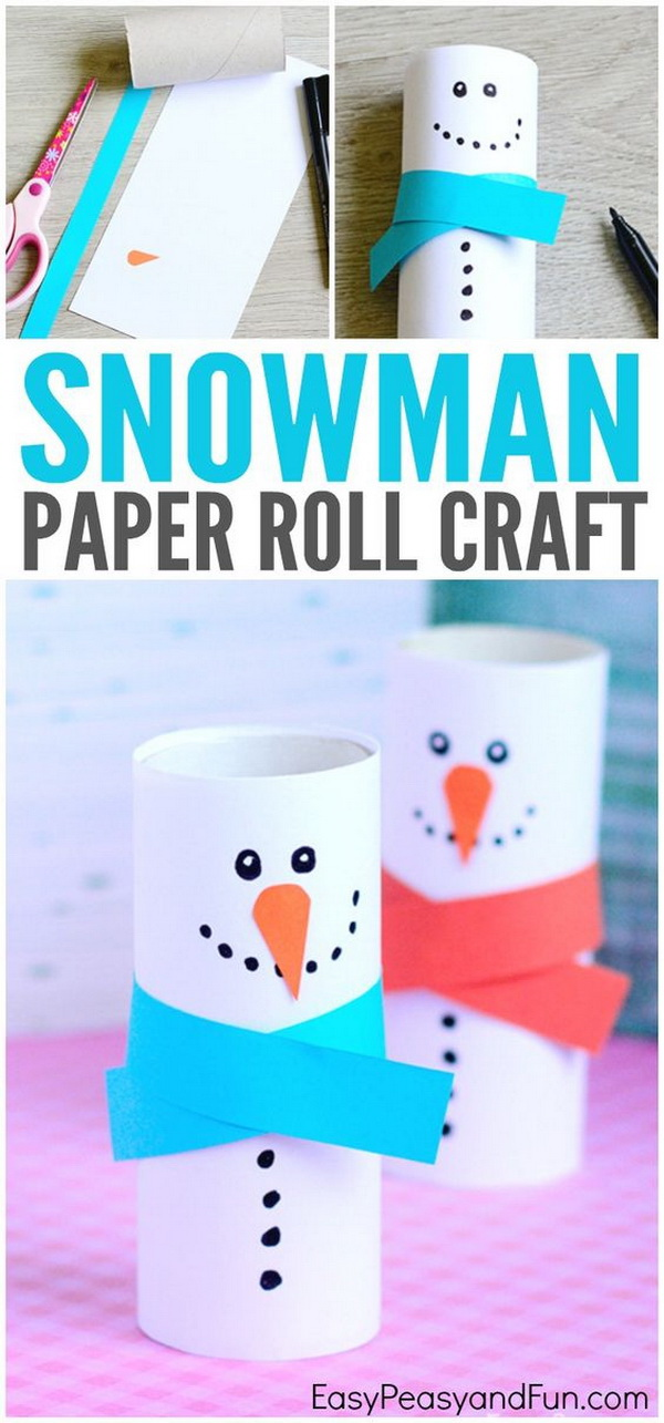 Paper Roll Snowman Craft. Transform plain toilet paper tubes into these adorable snowman crafts to dress up your home or classroom for the holidays.