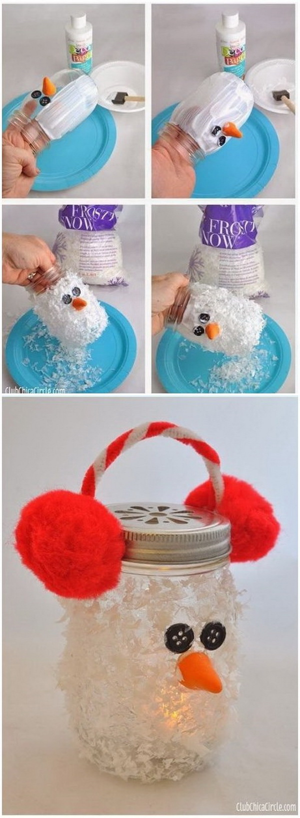 Snowman Mason Jar Luminary. Super cute winter DIY craft idea for kids. Makes fun gifts for Christmas too.