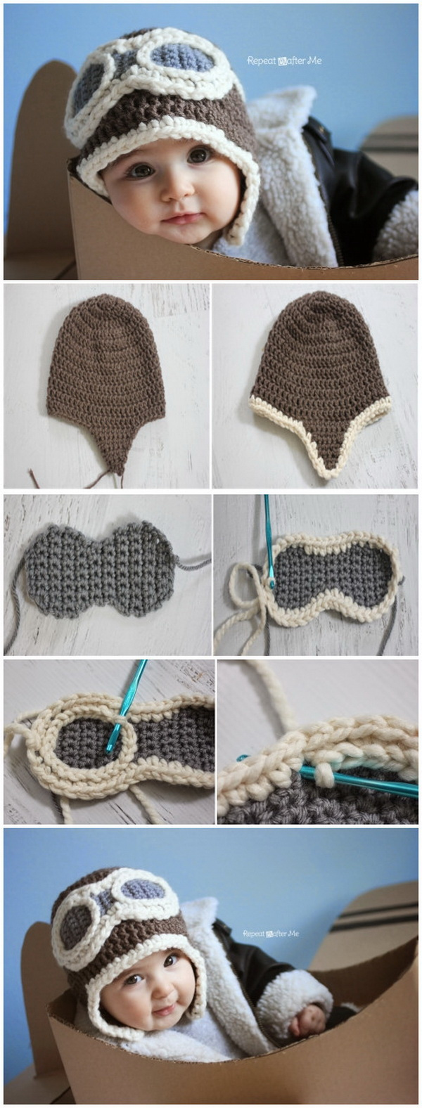 Crochet Aviator Hat with Free Pattern. This aviator hat is so adorable, it is a cute handmade gift for any little one you love.