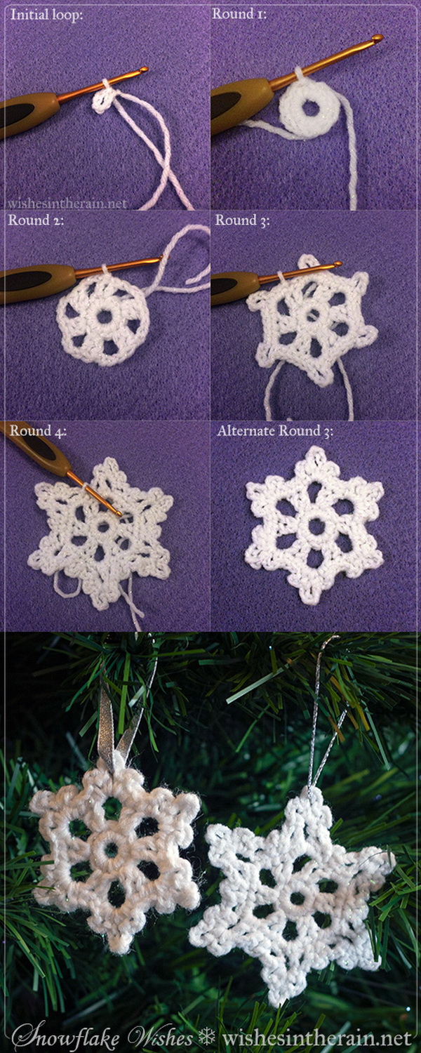Crocheted Snowflake Ornaments. Free crochet pattern to make snowflakes for your Christmas tree.