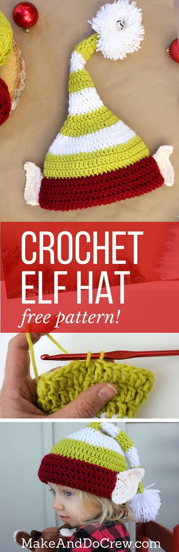 Crochet Elf Hat Pattern. A cute crochet elf hat pattern with little pointy ears will be the great Christmas gift for your kids or any little ones you love.