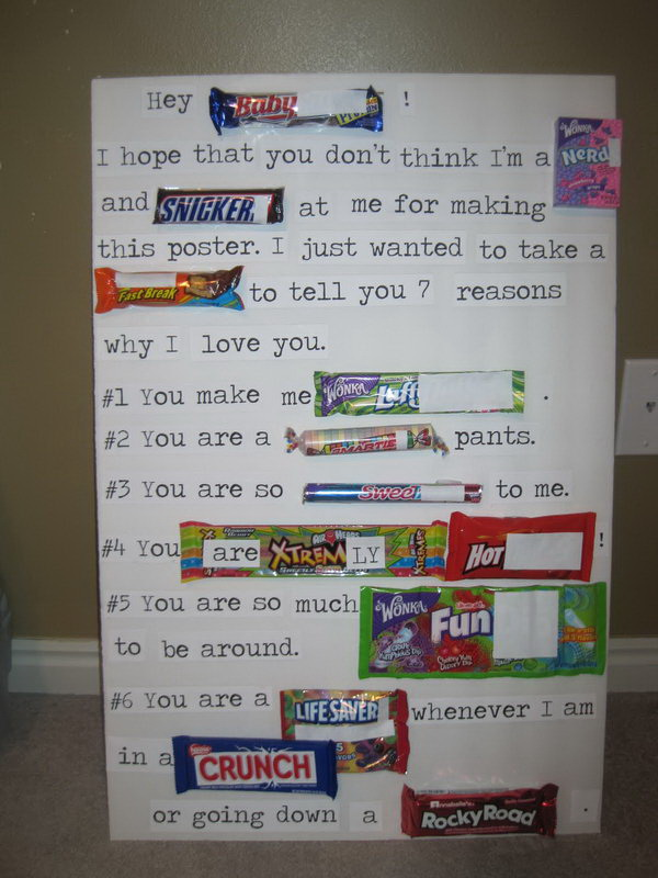 Valentines Candy Bar Poster for Him. Candy bar poster with clever sayings really does say a lot and make great gifts. This romantic candy bar card will be totally suitable to create for your honey.