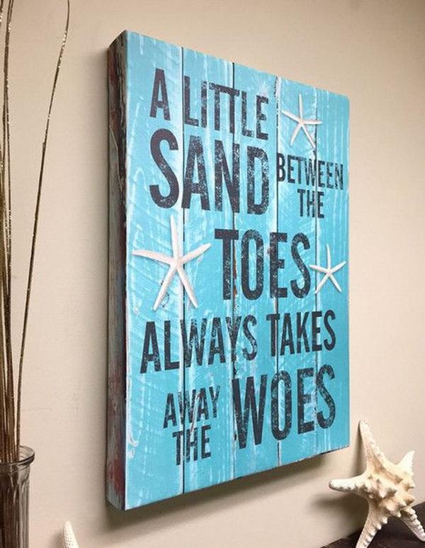 Beach Decor Quote on Canvas Art.