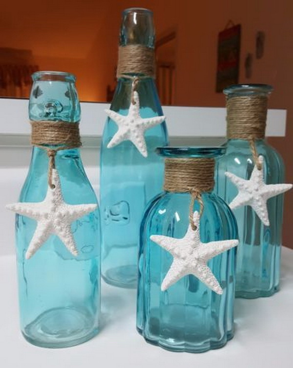 Starfish Beach Glass Vase. Super easy to create with some upcycling supplies around you.