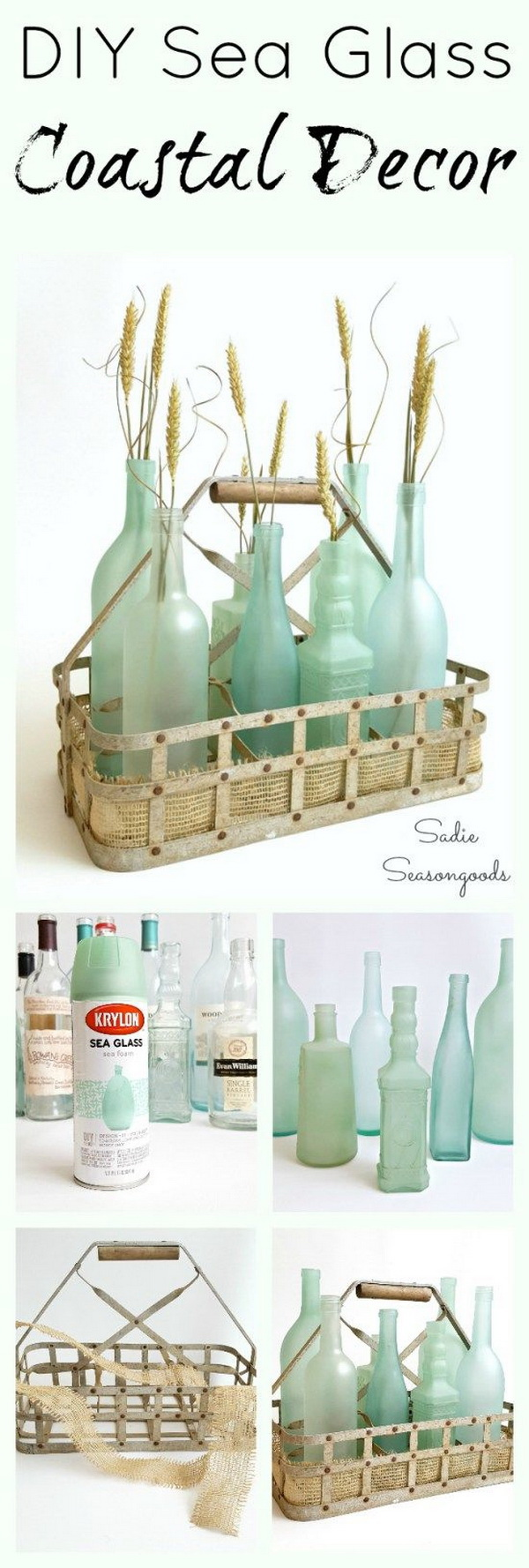 DIY Sea Glass Coastal Decor. Transform the simple wine bottles into stunning, gorgeous sea glass bottles with the frost etch effect paint! Super easy DIY upcycle craft to celebrate summer!