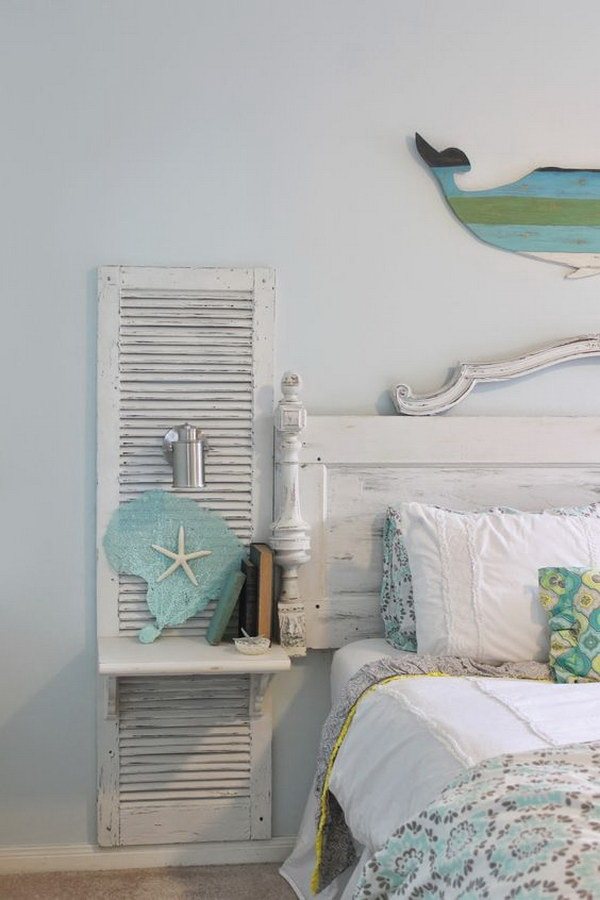 DIY Old Shutter Nightstand For A Beach Bedroom.