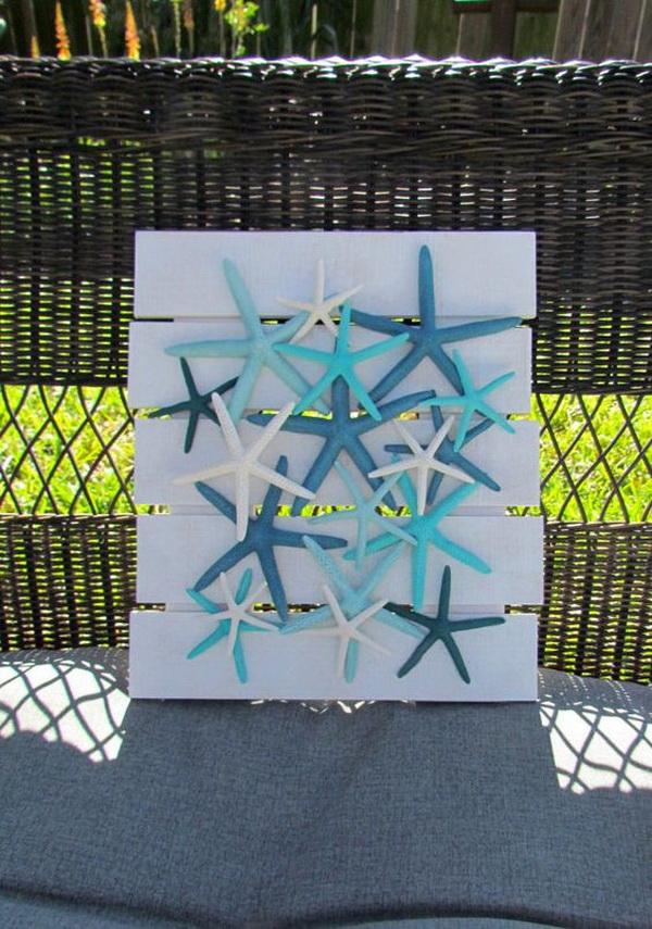 Starfish Wall Hanging Coastal Decor Collage.