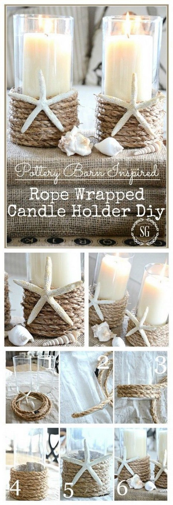 DIY Rope Wrapped Candle Holder. Wrap some rope around the simple dollar store glass candle holder and give it a nautical look. It definitly adds more elegance to your current decor!