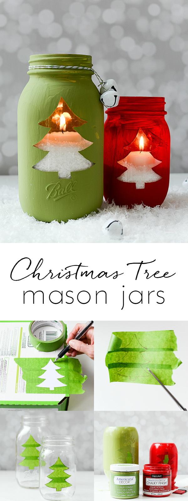 Christmas Tree Mason Jar Votive.
