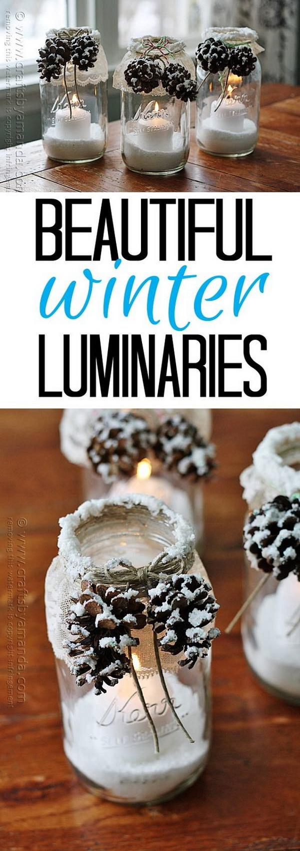 Winter Luminaries with Fake Snow and Pinecones.