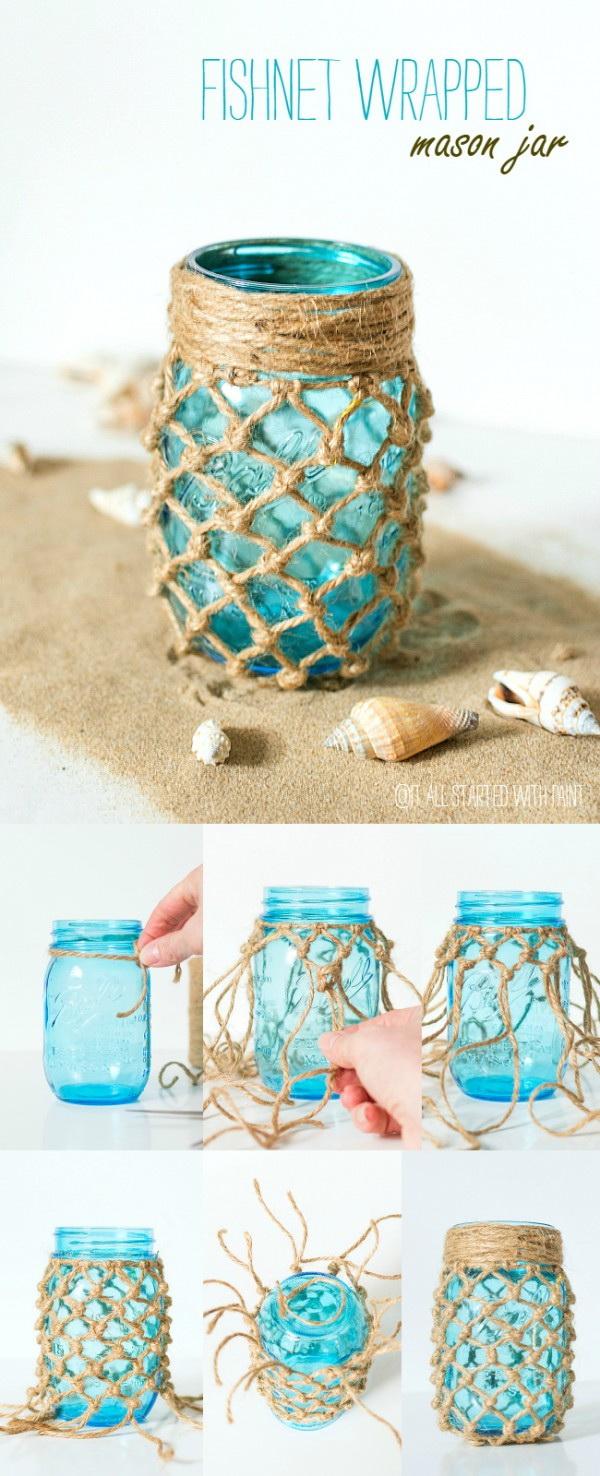 Fishnet Wrapped Mason Jar Craft.