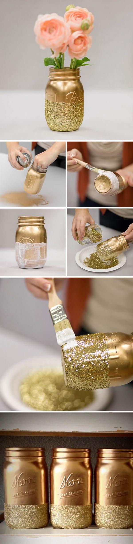 DIY Glitter Mason Jars Wedding Decoration.