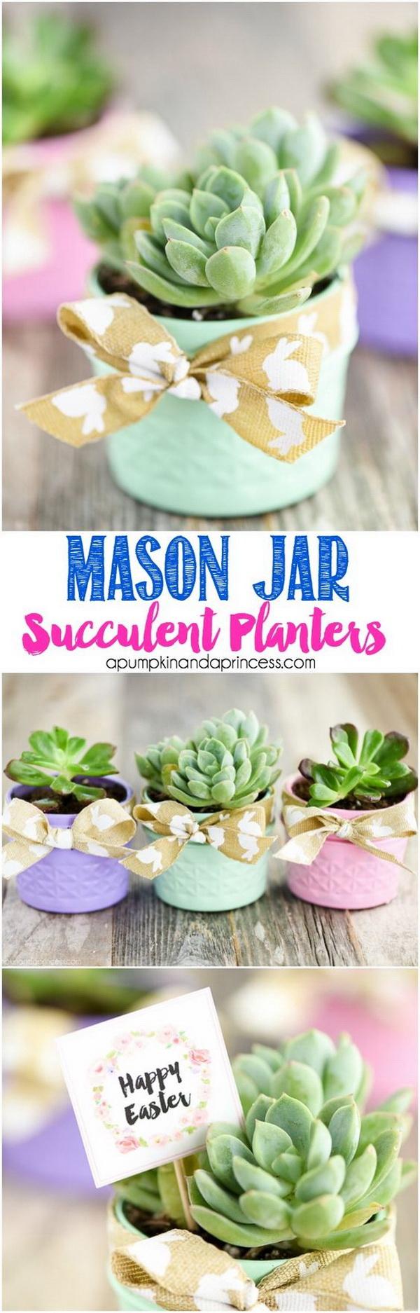 Mason Jar Succulent Planters.
