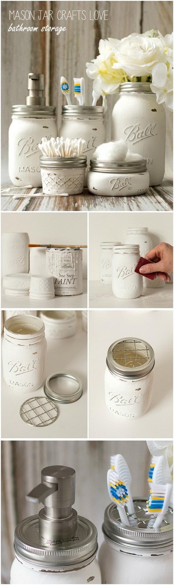 DIY Mason Jar Bathroom Storage.