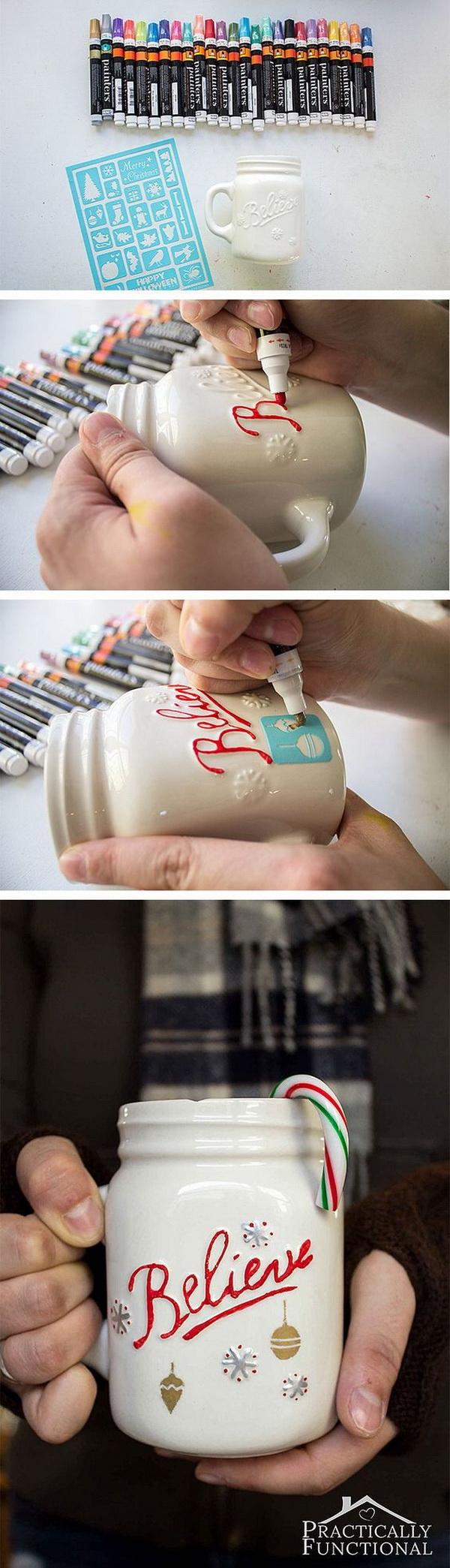 DIY Painted Christmas Mug.