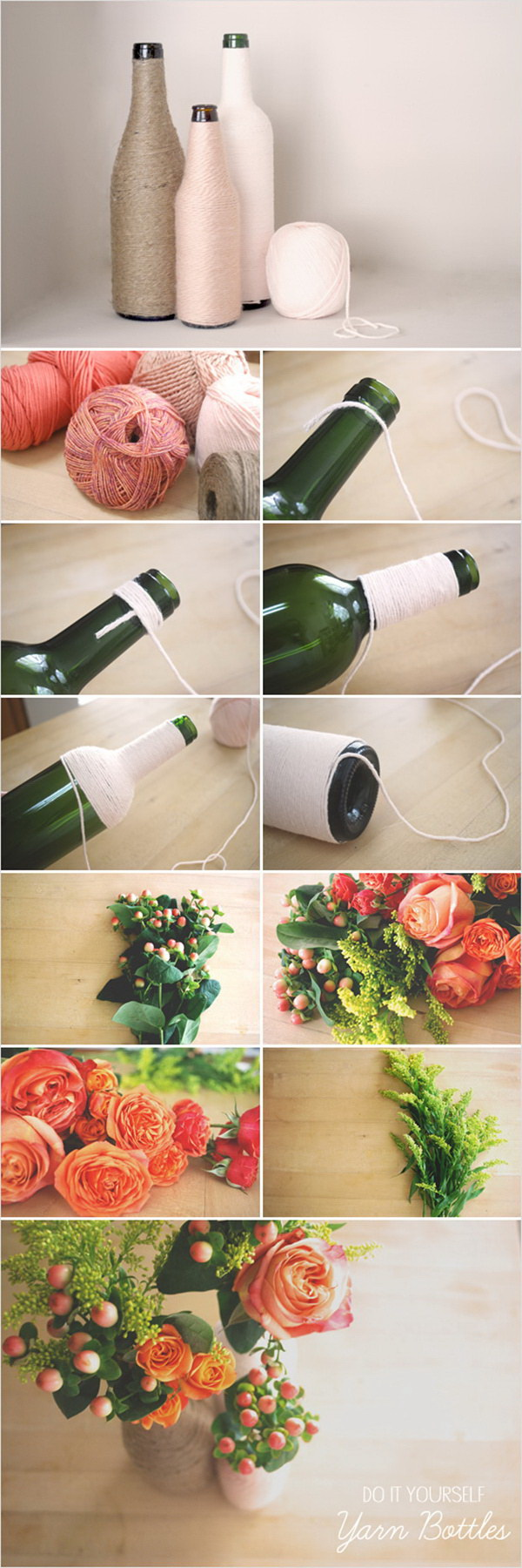 DIY Yarn Wrapped Bottles. Transform wine bottles in a darling spring table decor with some yarn and fresh flowers!