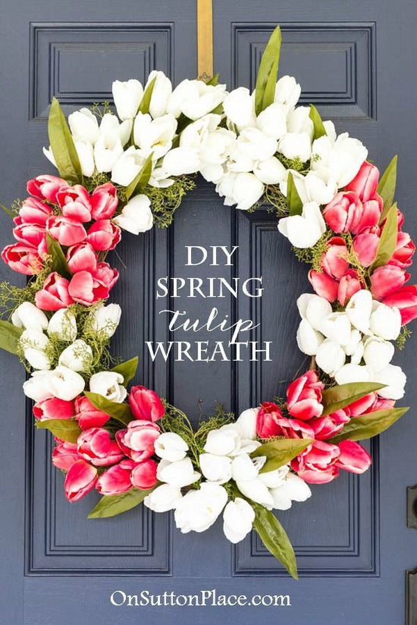 DIY Spring Tulip Wreath. A beautiful way to display your fresh flowers in your home for this spring season!