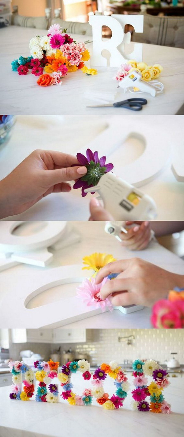 DIY Floral Letters Wall Art. These adorable floral letters look perfect to hang on the wall for springtime. They're also easy to make with simple supplies.
